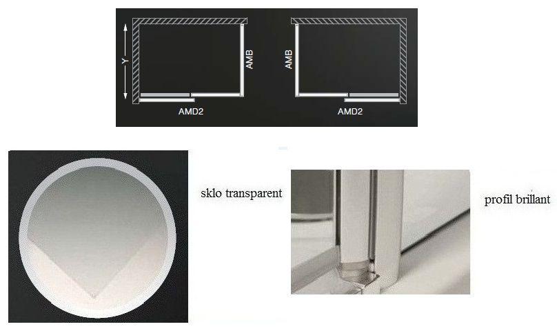 75f66e71015e7 ROLTECHNIK Ambient Line sprchová boční stěna AMB 900 výplň transparent, rám  brillant 621-9000000